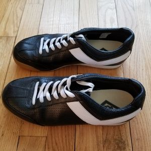 Black and white leather Pony sneakers. Size 10.